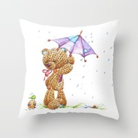 Teddy Bear _02 Throw Pillow by LenaFD
