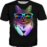 Cool Cat With Glasses And Headphones - Men, Women, Kids T-Shirts, Dress And Sweatshirt - Home Decor And Accessories