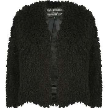 Blair Collarless Soft Curly Faux Fur Short Jacket in Black