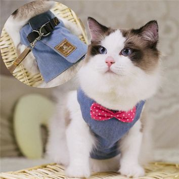 Dog Cat Harnesses Kitten Jeans Bowtie Jacket+Leash Pet Vest Harnesses Set for Dogs Cats Pet Traction Rope Dog Leash on free ship