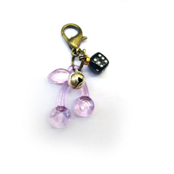 Cherry Pet Charm with Dice, Cross & Bell - Dog and Cat Bling - UltraSlinky Katt Smycken - Designer Pet Jewelry