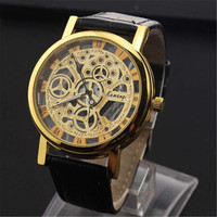 Mens Hollow Leather Watch