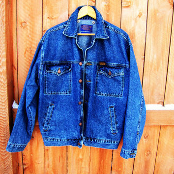 vintage Pendleton blue denim jacket. womens XL or mens L. unisex
