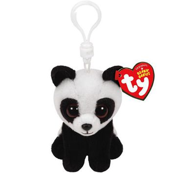 """Pyoopeo Ty Beanie Babies 4"""" 10cm Baboo the Panda Keychain Clip Plush Stuffed Animal Collection Doll Toy"""