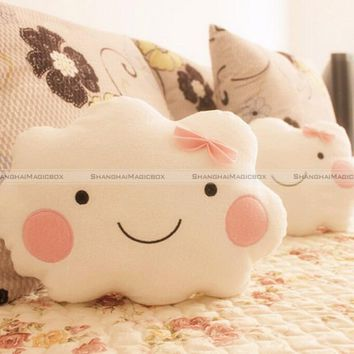 ShanghaiMagicBox Cute Smile Clouds Plush Pillow Cushion Shy Girl Pink Bow Sweet Couch Pillow 40814309