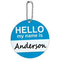 Anderson Hello My Name Is Round ID Card Luggage Tag