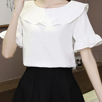 Round Neck Ruffle Trim Plain Bell Sleeve Blouse