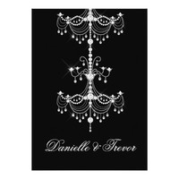 Elegant Ornate Diamond Chandelier on Black Wedding Card