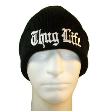 Europe and The United States Men and Women's Hip-Hop Thug Life Embroidery Knitted Wool Elastic Beanies Hat Ski Cap RX128