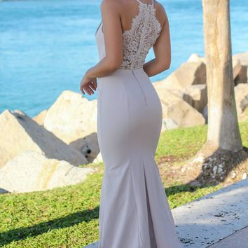 Beige Maxi Dress with Lace Back
