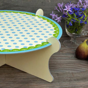 Green and blue Polka dots cardboard CAKE STAND party by mishbetset