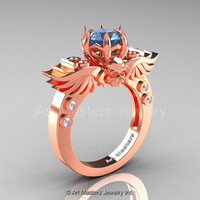 Art Masters Classic Winged Skull 14K Rose Gold 1.0 Ct Blue Topaz Diamond Solitaire Engagement Ring R613-14KRGDBT