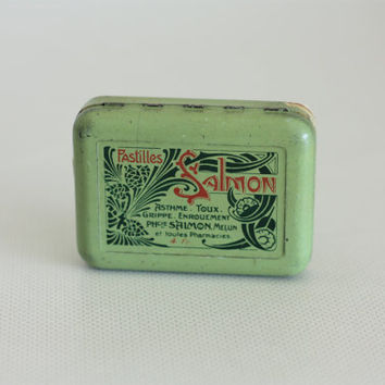 1920 - French little tin box // Salmon cough sweets // medecine