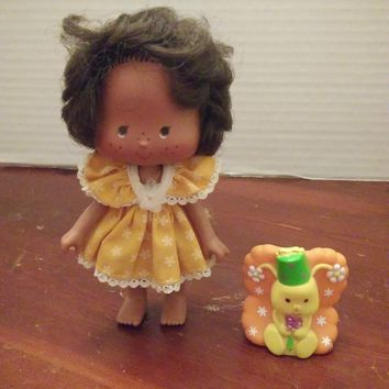 vintage 1980's strawberry shortcake orange blossom party pleaser doll with pet