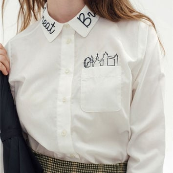 White Embroidered Collar Long-Sleeve Button Shirt