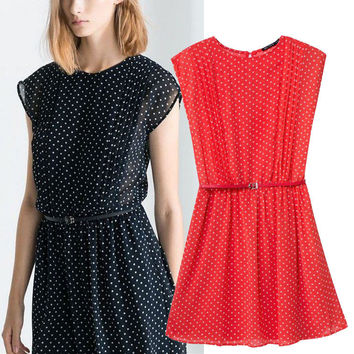 Chiffon Polka Dot Short Sleeve Belted A-Line Pleated Mini Dress