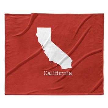 """Bruce Stanfield """"California State On Golden Red"""" Red White Fleece Throw Blanket"""