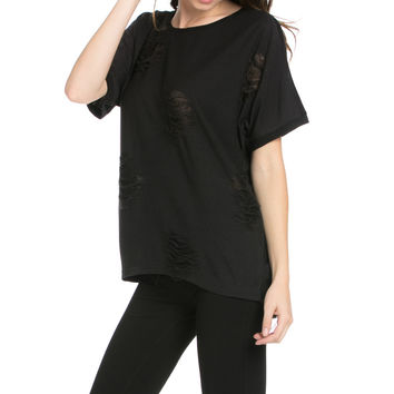 Distressed Spots Shirt Black