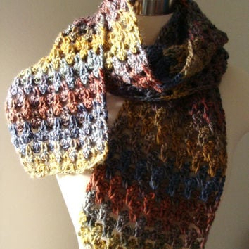Fall Multi Color Scarf  Handmade Crochet Scarf  by MODAcrochet