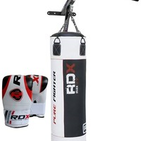 RDX 5FT Filled Punch Bag + Chin/Pull Up Bar + Boxing Gloves + Chains Wall Bracket