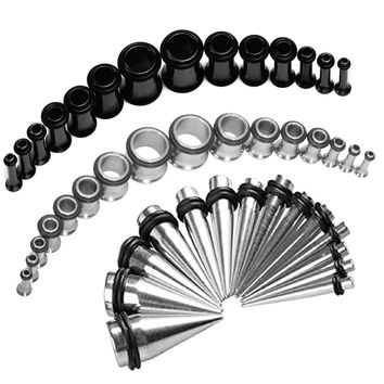 BodyJ4You Gauges Kit Taper Plug Tunnel Black Stainless Steel 14G-00G Stretching Set 54 Pieces