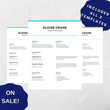 Professional Resume Template 05, CV Template for MS Word, Creative Resume, Modern Resume Design, Resume Instant Download 3 versions SALE!