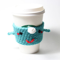 Narwhal Coffee Cozy. Kawaii crochet cup sleeve. by MsAmandaJayne