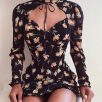 New long-sleeved hollow high-necked straps wooden ear bag hip dress