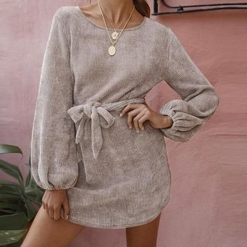 Jennifer Knit & Tied Sweater Dress