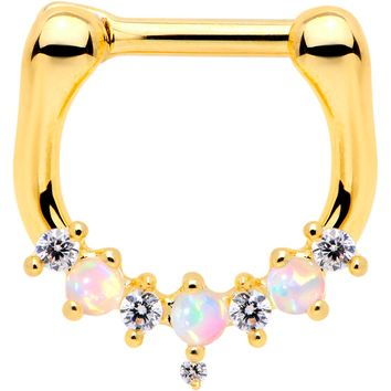 """1/4"""" White Synthetic Opal Gold Tone Plated Flash Septum Clicker"""
