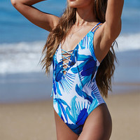 LA Hearts Tropical Print Lace-Up One Piece Swimsuit at PacSun.com