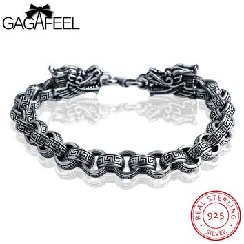GAGAFEEL Men Jewelry Bracelets & Bangles Real 925 Thai Sterling Silver Dragon Leading Link Great Wall Pattern Chain 19-22CM