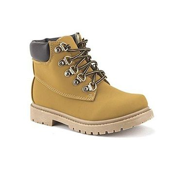 Kids Cay-06 Padded Ankle High Lace Up Fashion Boots
