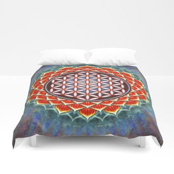 Flower Of Live - Red Lotus Duvet Cover by Dirk Czarnota