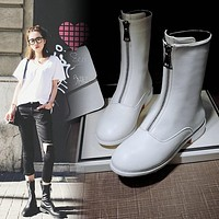 Women boots 2017 fashion boots Square heel Martin boots Round Toe low heels motorcycle boots winter with fur genuine leather