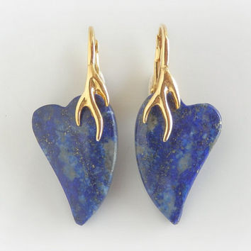 Lapis Lazuli Stone Earrings – Golden Stag and Heart Earrings -  Blue and Gold Antler Earrings