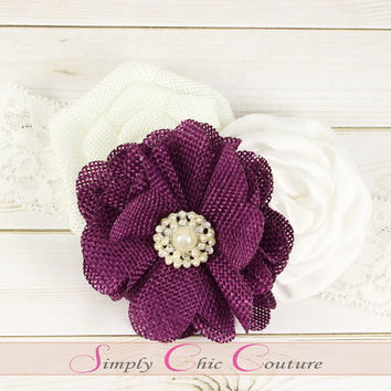 Plum & White Rustic Burlap Headband, Burlap Lace Headband, Flower Girl Headband, Wedding Hairpiece, Country Headband, Burlap Headband