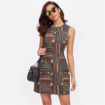 Striped Trim Tribal Embroidered Dress Multicolor Geometric Fit and Flare Women Dress