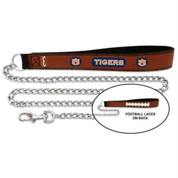 CREYONI Auburn Tigers Football Leather and Chain Leash