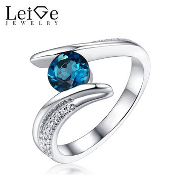 LEIGE JEWELRY SILVER 925 LONDON BLUE TOPAZ RING ROUND CUT BEZEL SETTING NATURAL GEMSTONE WOMEN WEDDING RINGS ANNIVERSARY GIFT
