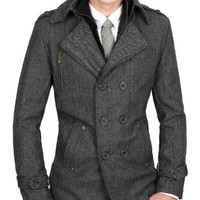 Doublju Mens Wool Herringbone Coat BLACK (US-S)