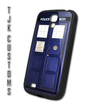 Samsung Galaxy S4 Case Galaxy S4 Tardis Case Dr Who Police Box Case Rubber w/ Metal