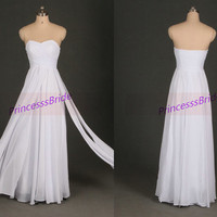 2014 white chiffon prom dress long,simple floor length gowns for holiday party,cheap sweetheart homecoming dresses.