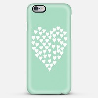 Hearts Heart White on Mint iPhone 6 Plus case by Project M | Casetify