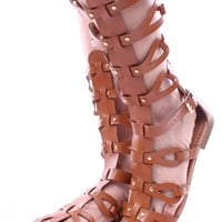 TAN FAUX LEATHER GLADIATOR SANDALS