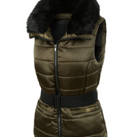 LE3NO Womens Fully Padded Puffer Vest with Faux Fur Collar