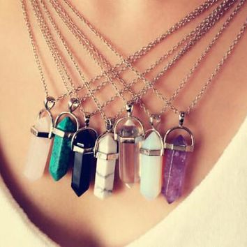 multi color quartz pendant chain crystal necklace jewelry gift box  number 1