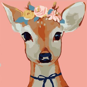 Deer DIY Paint Numbers Kit: Includes Acrylic Paints, Brushes and Canvas