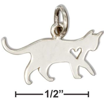 Sterling Silver Silhouette Cat Charm With Cut Out Heart