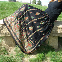 Black Gypsy Skirt: Maxi Skirt, Long Skirt, Boho Indian Bohemian Floral Sequin Peasant Crinkled Sequin Skirt